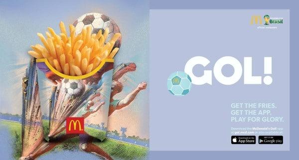 GOL! l'application de McDonald qui fait jouer son paquet de frittes pour la Coupe du Monde 2014.