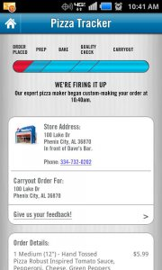 Le fameux Pizza Tracker de Domino's Pizza : via Google Play